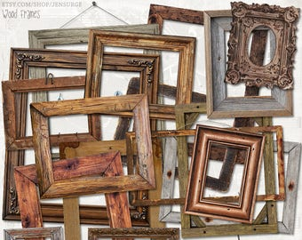 Wood Frames digital scrapbooking graphics kit / clipart / altered art / mixed media collage / instant download / printable