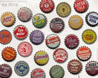 Vintage Bottlecaps digital scrapbooking graphics kit / clipart / altered art / mixed media collage / instant download / printable