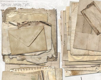Distressed Journaling Papers digital scrapbooking graphics kit / clipart / altered art / mixed media collage / instant download / printable