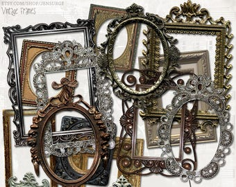 Vintage Frames digital scrapbooking graphics kit / clipart / altered art / mixed media collage / instant download / printable