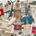 Vintage Sewing Notions instant download ephemera pack, printable, digital collage, diary / junk journal, altered art, mixed media, clipart