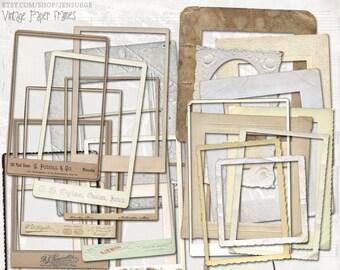 Vintage Paper Frames digital scrapbooking graphics kit / clipart / altered art / mixed media collage / instant download / printable