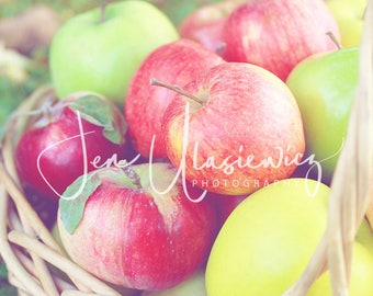 Apple Basket Photography Print, fruit, kitchen, food, still life