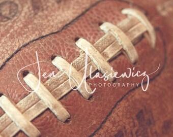 Vintage Football Sports Photography Print, macro, man cave, boys room, nursery, still life
