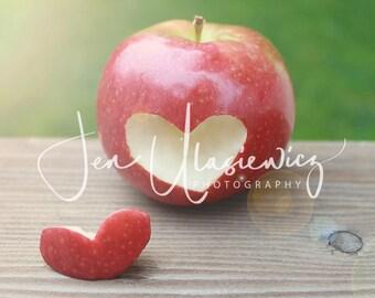 Red Apple Heart Photography Print, teacher, thank you, fruit, kitchen, food, still life