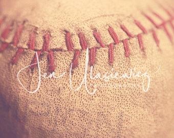 Vintage Baseball Sports Photography Print, macro, man cave, boys room, nursery, still life