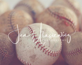Vintage Baseballs Sports Photography Print, macro, man cave, boys room, nursery, still life