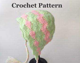 Crochet Pattern Bonnet Pattern Baby Newborn Hat Infant Cap Newborn Photo Prop Baby Gift Infant Hat INSTANT DOWNLOAD