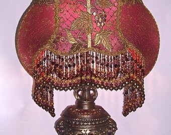 Antique Red Plum Gothic Rose and Grape Table Lamp Hand Made One of a kind Lamp Shade Beaded Fringe