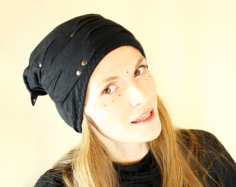 Slouchy black cotton/linen winter beanie hat with 2 pointy tips - Coupari