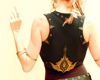 Cotton bolero shrug black vest with leather art appliques, 12 colors - Darnassus