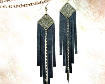 Dangle long leather fringe earrings with brass details, 32 colors - EQUALINN EARRINGS