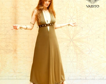 Long open back halter summer dress, with plungeneck, leather waistband made from viscose jersey in olive or pick your color -STATELINN DRESS