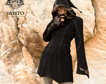 Wool winter coat, high low black festival jacket with pixie hood, pockets and leather art appliques - MAGICNIGHT COAT