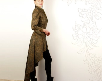 High low jacket, Hi lo coat, Steampunk, Fishtail suit, Light blazer, Elegant, Unique, One Of a Kind, Wool, Brown, With leather art