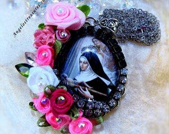Catholic St Rita Religious Handmade Pendant Necklace, Patron Saint of impossible cases, difficult marriages, and parenthood