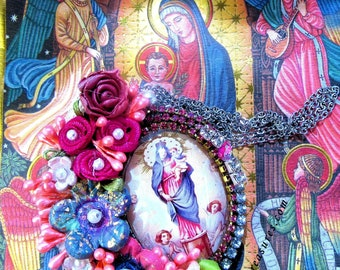 Catholic Virgin Mary, Our Lady Of The Pillar, Religious Handmade Pendant Necklace, Flowers, Collar Virgen Maria