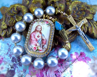 Catholic Chaplet, Tenner, One Decade Rosary, Handmade, Sacred Heart of Jesus, Vintage Pearls; Crucifix Marked Italy