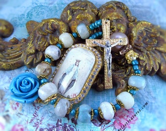 Catholic Chaplet, Tenner, One Decade Rosary, Handmade, Virgin Mary, Our Lady of Miraculous Medal, Gemstone, Amazonite, Crucifix