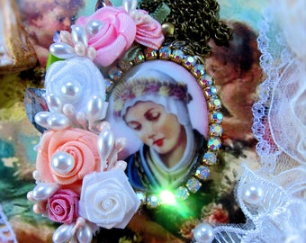 Catholic Virgin Mary, Our Lady of La Salette, Religious Handmade Pendant Necklace, Flowers, Collar Virgen Maria