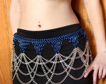 Triple Chain Drape Belt Chainmail Gypsy Bellydance