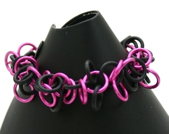 Pink Shaggy Loops Chainmail Bracelet
