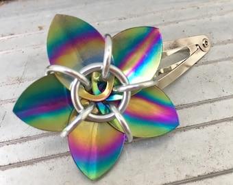 Rainbow Anodized Niobium Scale Flower Barrette