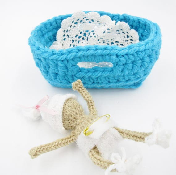 Pattern For Knitted 4 Inch Baby Doll Hats And Crochet Basket Etsy