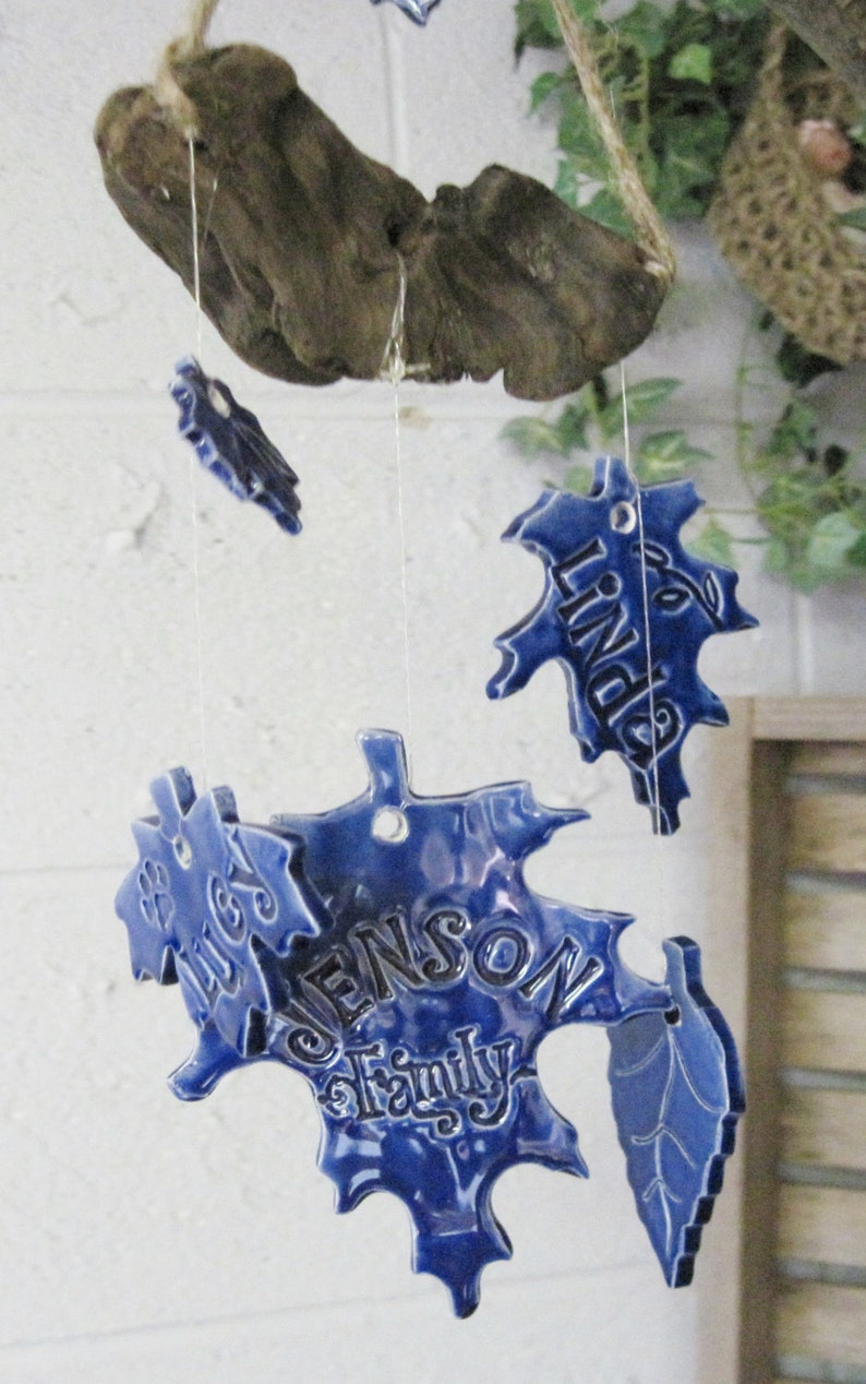 Blue Wind Chime Personalized Family Tree Wind Chime