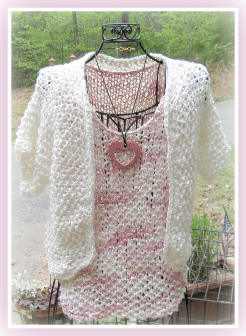 Bamboo Shell and Bolero Teen to Adult Knitting Pattern S M ...
