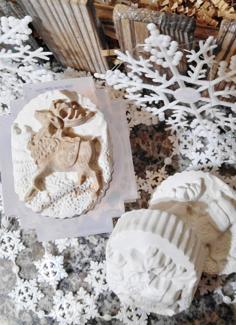 Dancing Reindeer Clear Transparent View Silicone Mold for Soap Candles Cakes etc. Chocolate