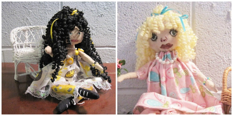 Green and Yellow Colors Curly Yarn Hair for Your Handmade Dolls
