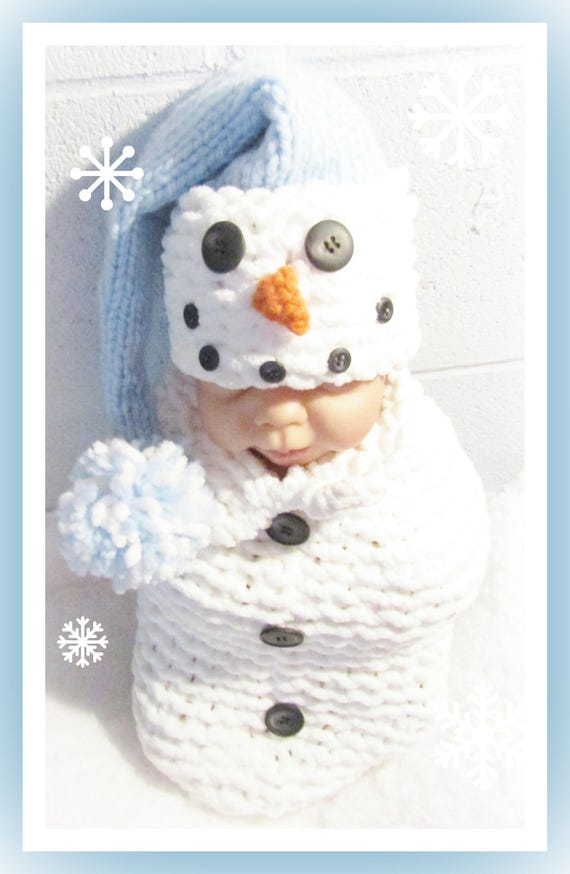 Snowman Hat Bulky Yarn Knitting Pattern For Newborn Babies Etsy