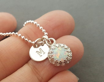 Personalised Necklace Opal Necklace stamped initial disc man-made opal jewellery customized pendant sterling silver october birthstone gift