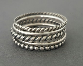 Sterling Silver Rings thin 5 oxidized silver stacking rings bluebirdss Australia
