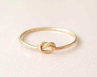 Gold Love Knot Ring thin gold ring Valentines Day gift for women stacking ring midi ring promise ring best friend gifts for girlfriend