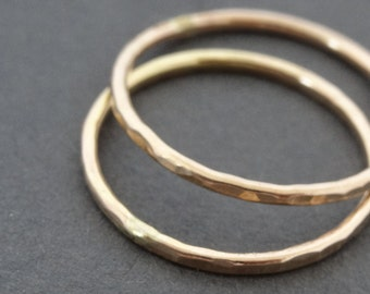 Gold Rings 2 thumb ring stacking rings gold filled hammered stackable midi ring - knuckle ring