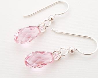 d883bb506 Silver Earrings Pink Earrings Swarovski Crystal Light Rose crystal Earrings  everyday Dainty silver earrings pink gift for women best friend