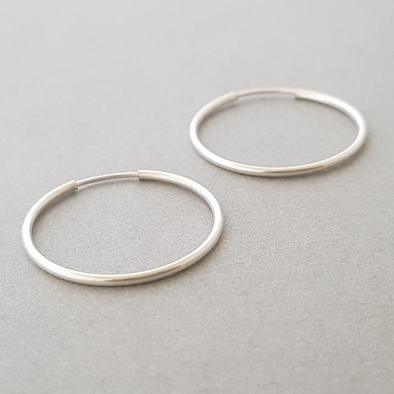 925 Sterling Silver Faceted Endless Thin Large Hoop Earrings for Women