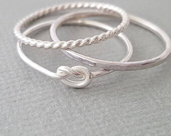 3 Sterling Silver Rings Thin Stacking Rings set of 3 love knot ring, twist ring and hammered ring