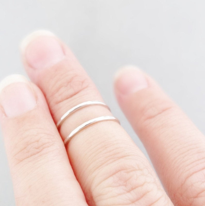 Midi Ring set sterling silver minimalist stacking rings tiny ring thin hammered silver ring toe ring pinky finger ring above the knuckle