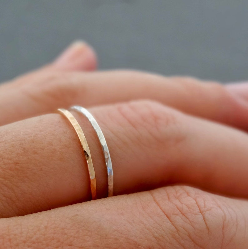 SUPER THIN Rings Rose gold Ring and Sterling Silver Ring set image 0