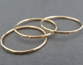 Thin Gold Rings hammered stacking rings 14 k Gold Filled Rings skinny hammered minimal stacking rings thumb rings