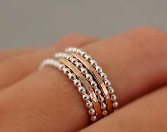 2 Rose Gold Rings and 3 Sterling Silver Bead Rings gifts for mum Stacking Rings mixed metal stackable rings