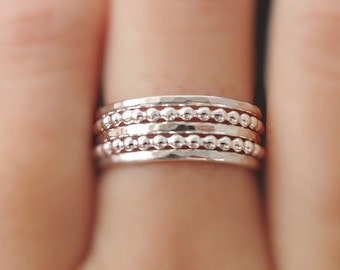 5 Sterling Silver Rings hammered rings bubble rings Stackable Rings - Stacking Rings sterling silver boho summer stack rings