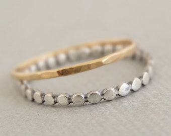 Mixed Metal Rings SUPER THIN hammered Gold and Oxidized Silver Rings set of 2 contrasting stackable thumb rings