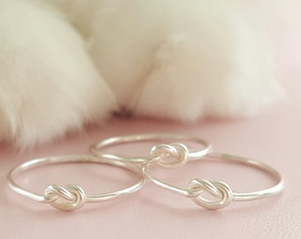 Love Knot Promise Ring sterling silver friendship jewelry best friend gift choose 1 ring or 2 rings