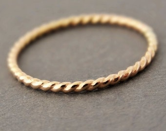 Gold Twist Ring choose quantity dainty gold filled stacking ring thumb rings for women