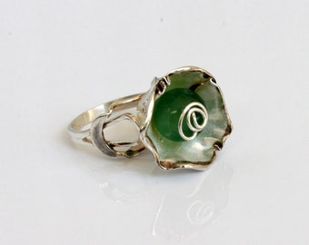 Green agate 925 silver fashion ring, trendy promise rings, promise ring for women.Free  shipping.