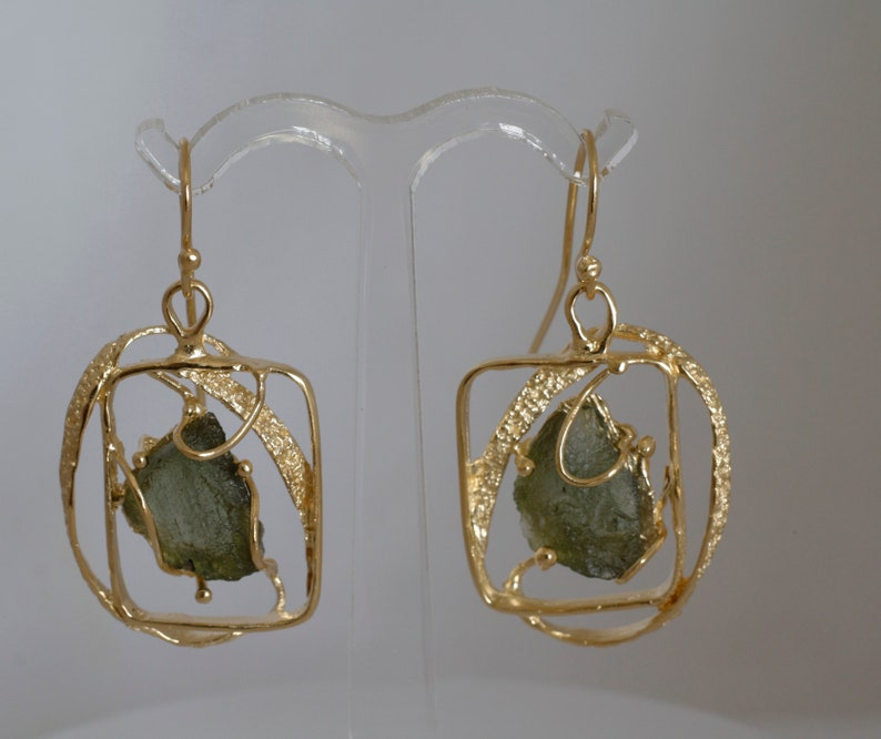 Gold filled rough stones earrings Large Statement asymmetrical design Boho earrings made in Israel.